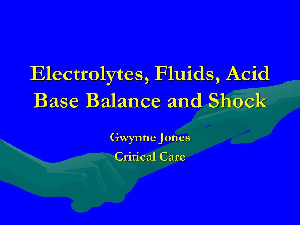 Electrolytes, Fluids, Acid Base Balance and Shock