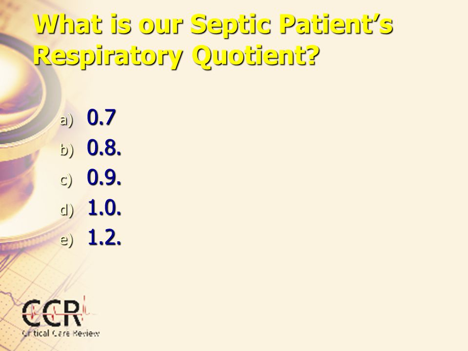 What is our Septic Patient's Respiratory Quotient
