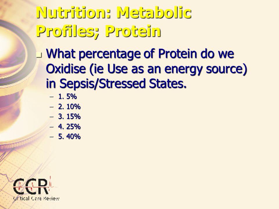 Nutrition: Metabolic Profiles; Protein