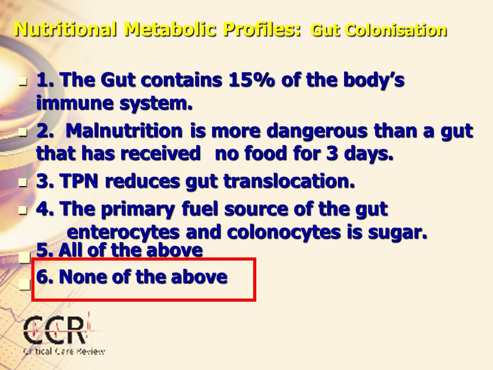 Nutritional Metabolic Profiles: Gut Colonisation