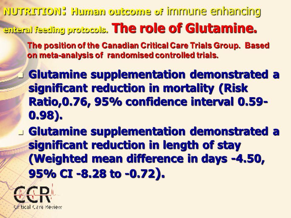 NUTRITION: Human outcome of immune enhancing enteral feeding protocols