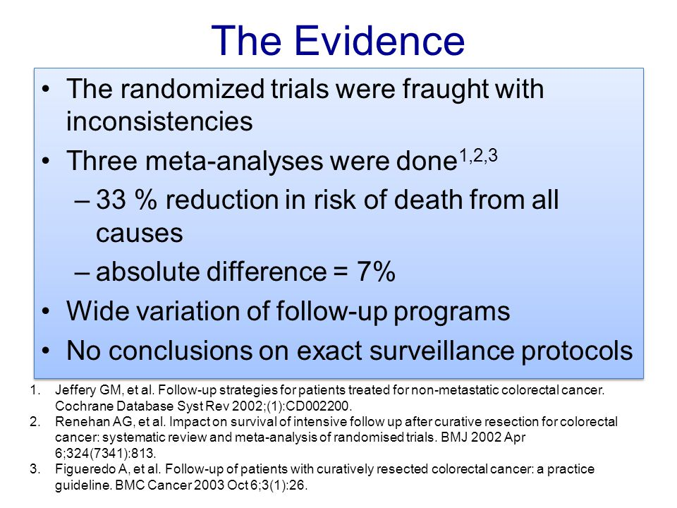The Evidence The randomized trials were fraught with inconsistencies