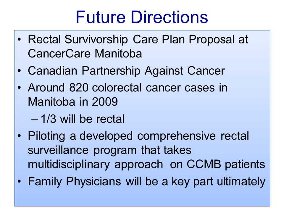 Future Directions Rectal Survivorship Care Plan Proposal at CancerCare Manitoba. Canadian Partnership Against Cancer.