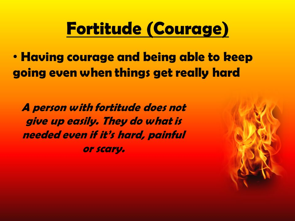 Fortitude (Courage) Having courage and being able to keep going even when things get really hard.