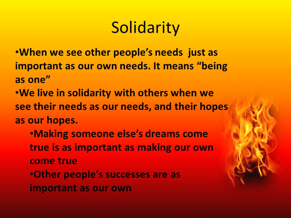 Solidarity When we see other people's needs just as important as our own needs. It means being as one