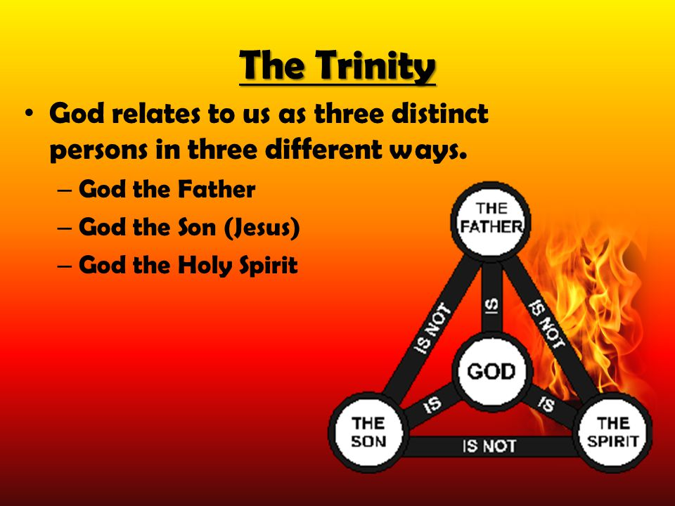 The Trinity God relates to us as three distinct persons in three different ways. God the Father. God the Son (Jesus)