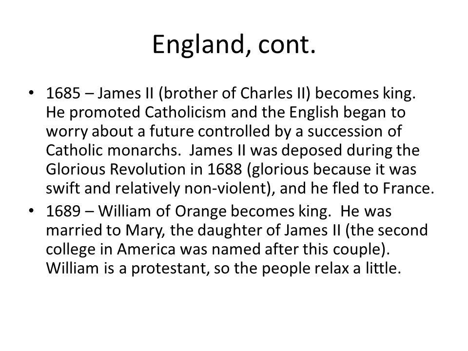 England, cont.