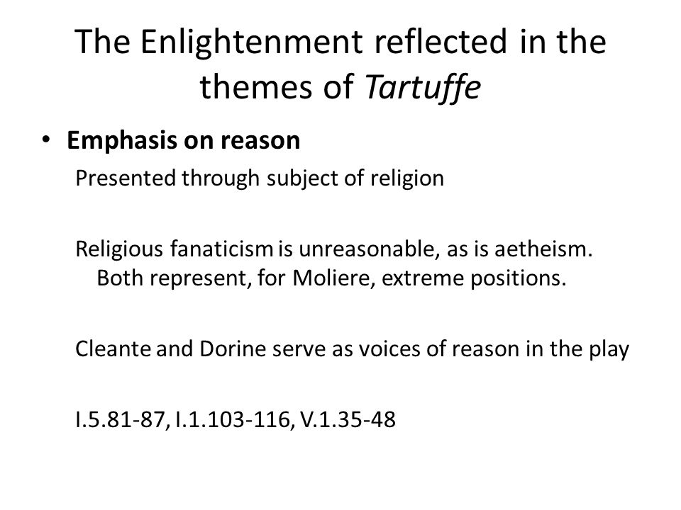 The Enlightenment reflected in the themes of Tartuffe