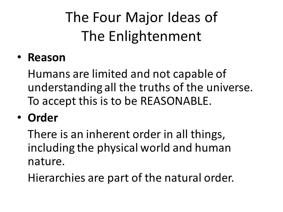 The Four Major Ideas of The Enlightenment