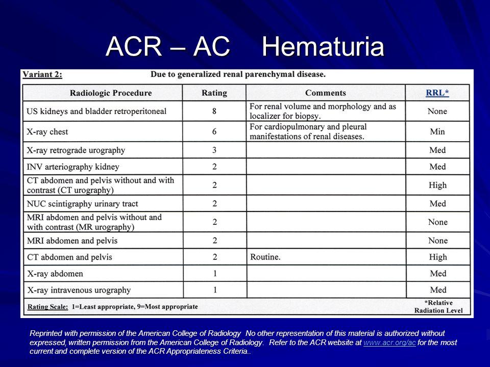 ACR – AC Hematuria