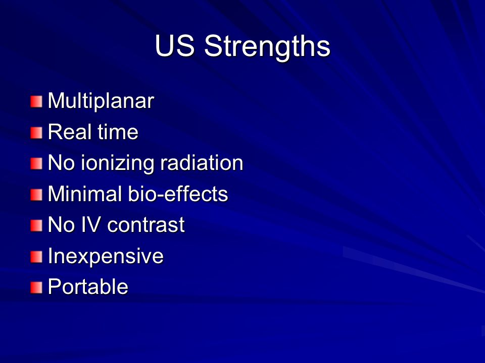 US Strengths Multiplanar Real time No ionizing radiation