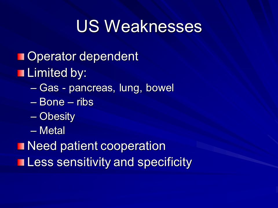 US Weaknesses Operator dependent Limited by: Need patient cooperation