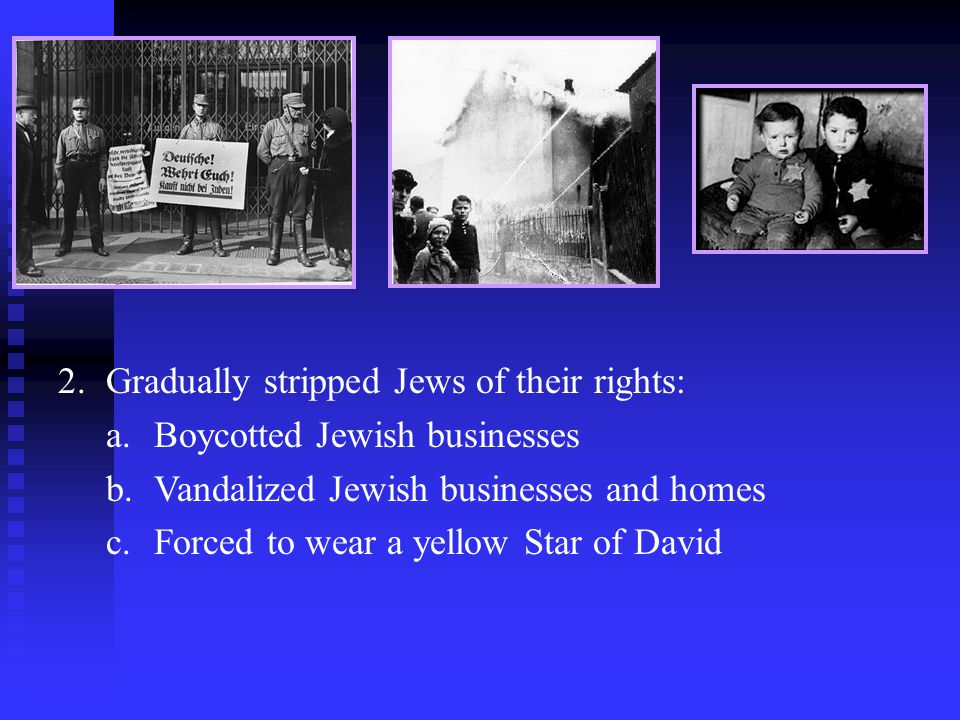 Gradually stripped Jews of their rights: