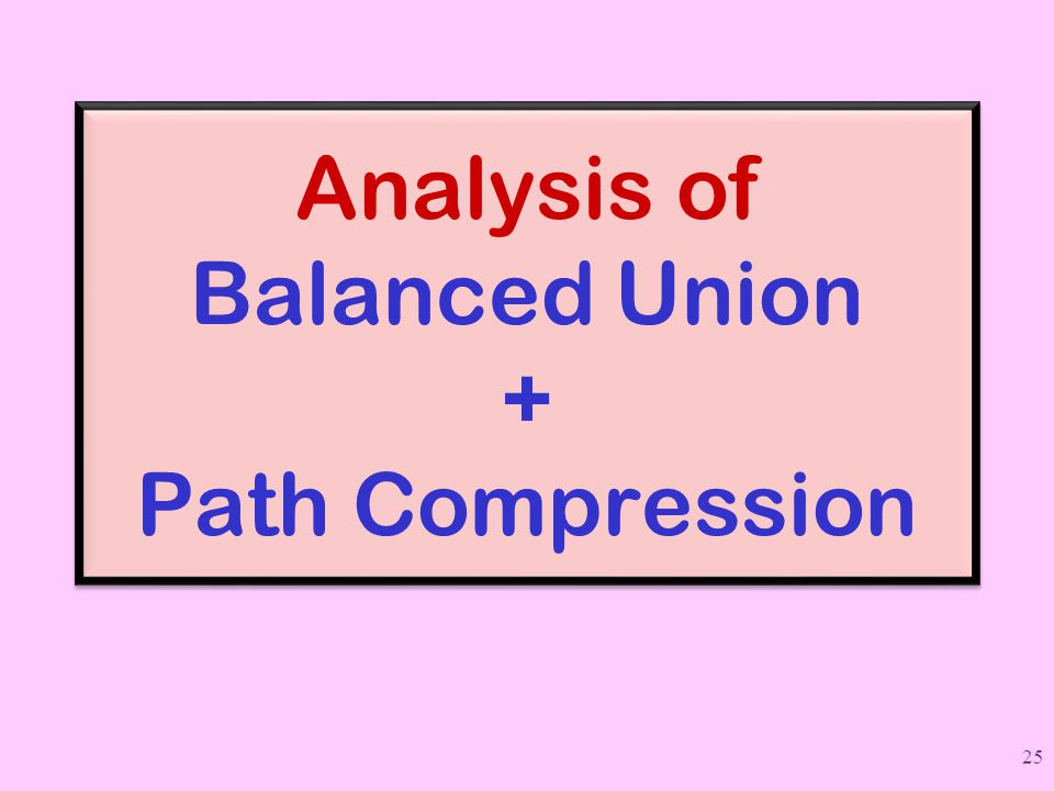 Analysis of Balanced Union + Path Compression