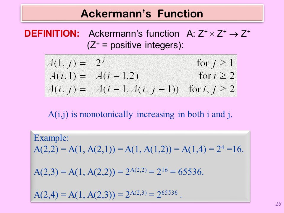 Ackermann's Function DEFINITION: Ackermann's function A: Z+  Z+  Z+ (Z+ = positive integers):