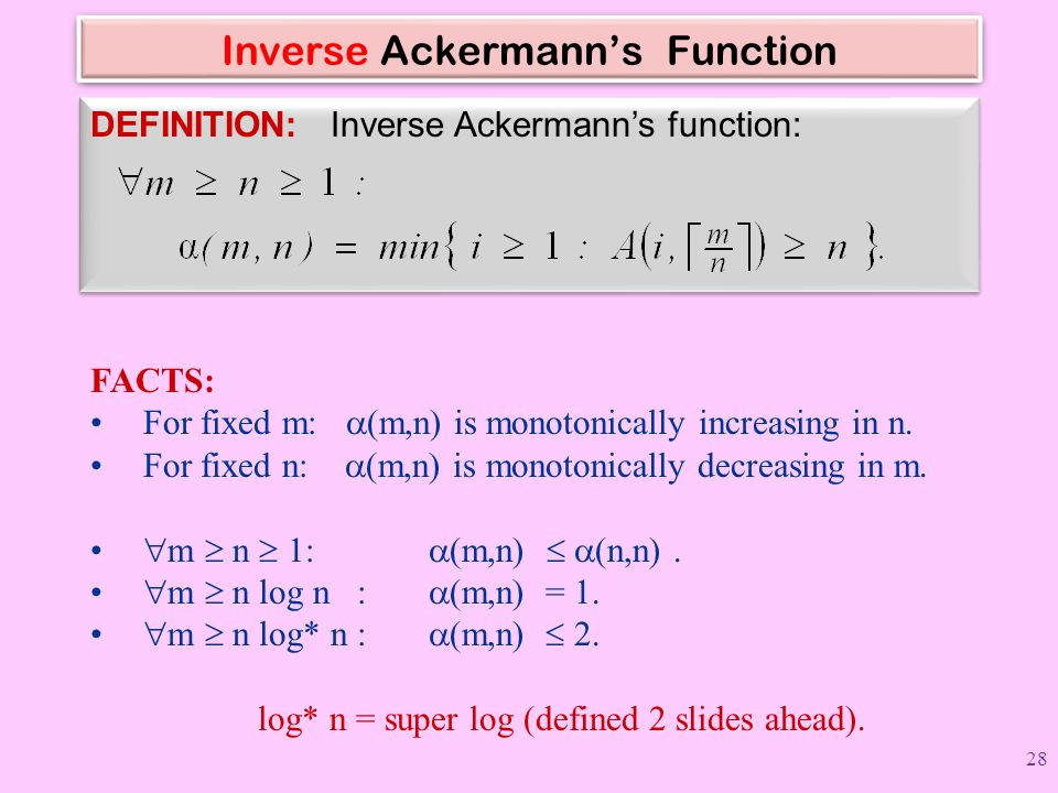 Inverse Ackermann's Function