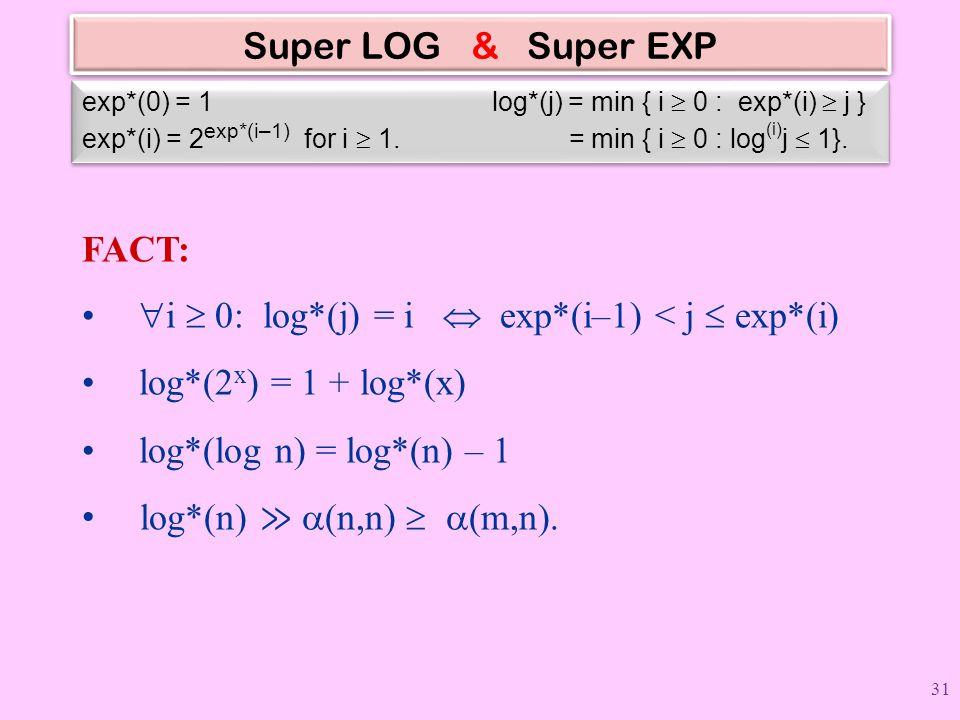 i  0: log*(j) = i  exp*(i–1) < j  exp*(i)