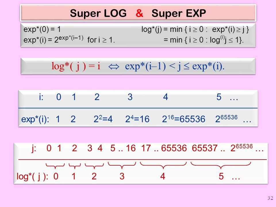 log*( j ) = i  exp*(i–1) < j  exp*(i).
