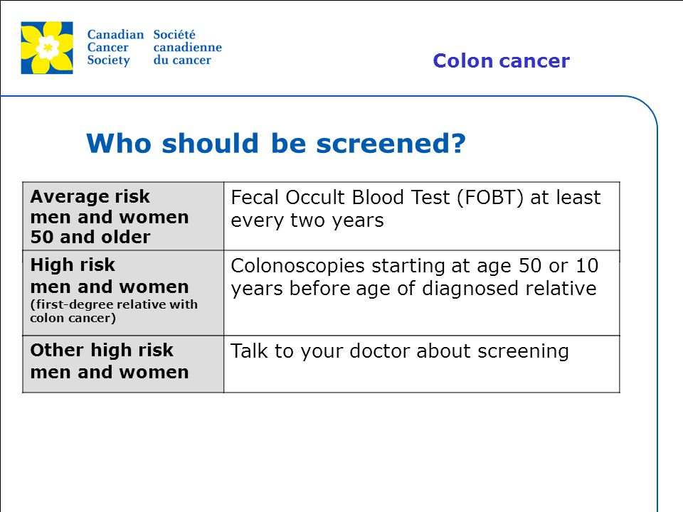 Who should be screened Colon cancer