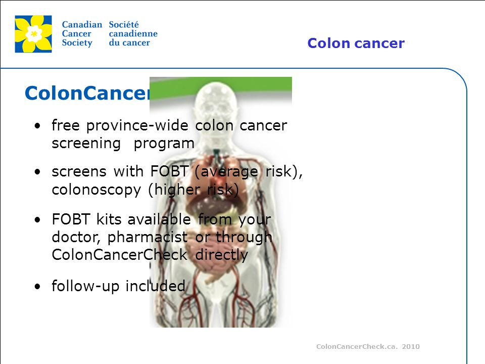 ColonCancerCheck free province-wide colon cancer screening program