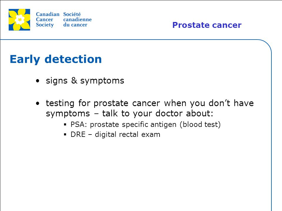 Early detection signs & symptoms