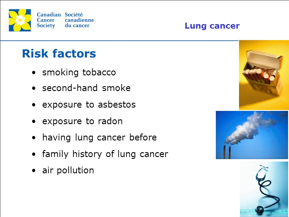 Risk factors smoking tobacco second-hand smoke exposure to asbestos