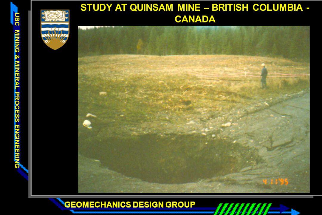 STUDY AT QUINSAM MINE – BRITISH COLUMBIA - CANADA