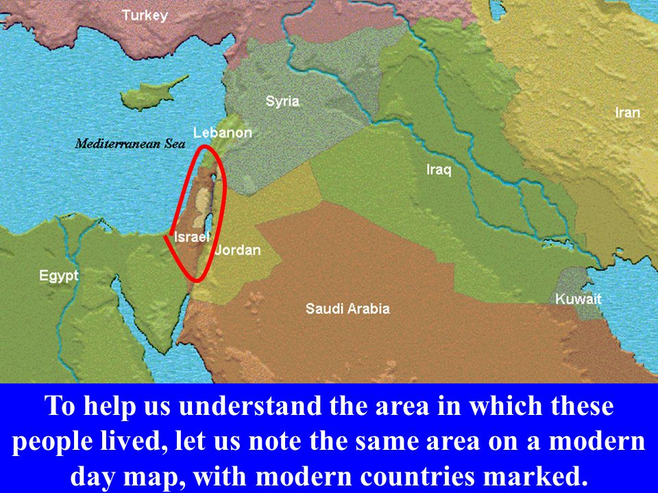 To help us understand the area in which these people lived, let us note the same area on a modern day map, with modern countries marked.