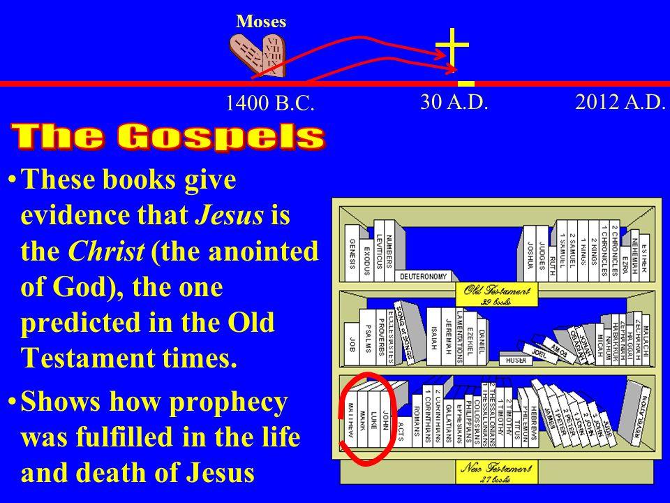 Moses 1400 B.C. 30 A.D. 2012 A.D. The Gospels.