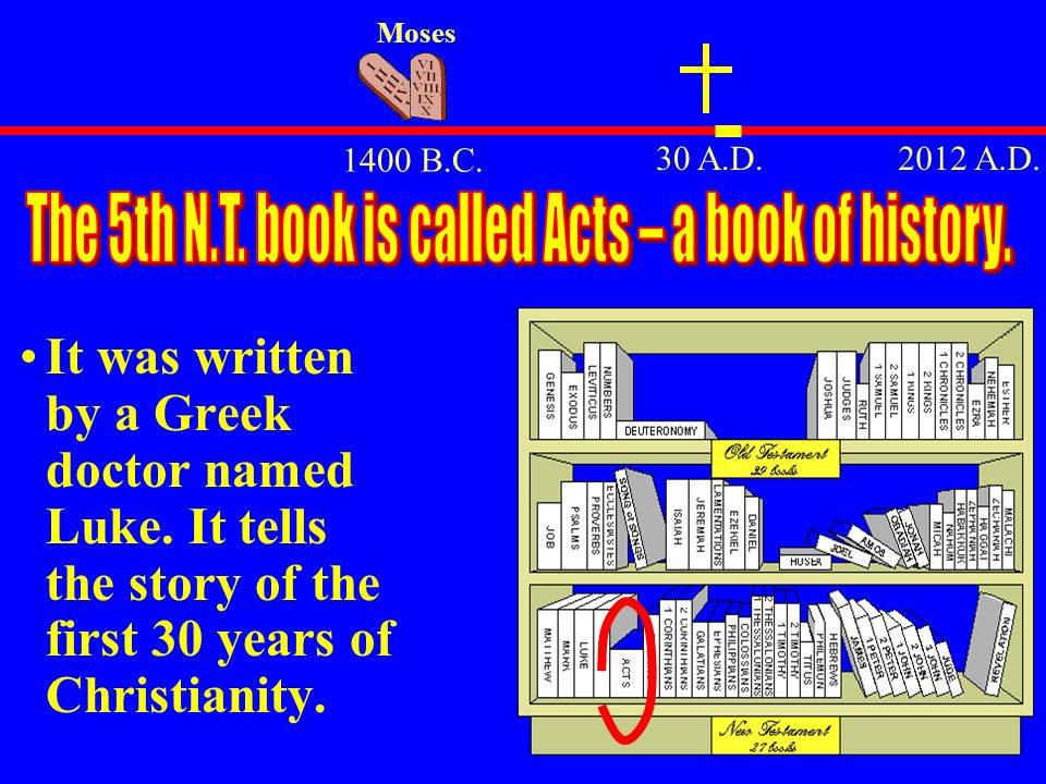 The 5th N.T. book is called Acts – a book of history.