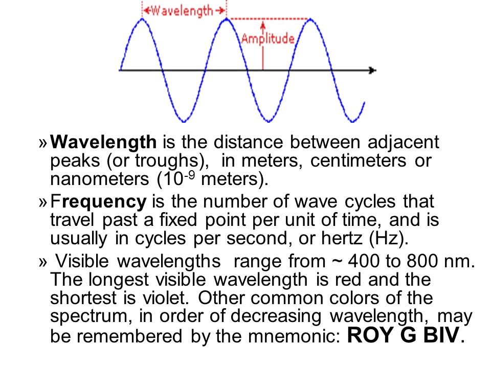 Wavelength is the distance between adjacent peaks (or troughs), in meters, centimeters or nanometers (10-9 meters).