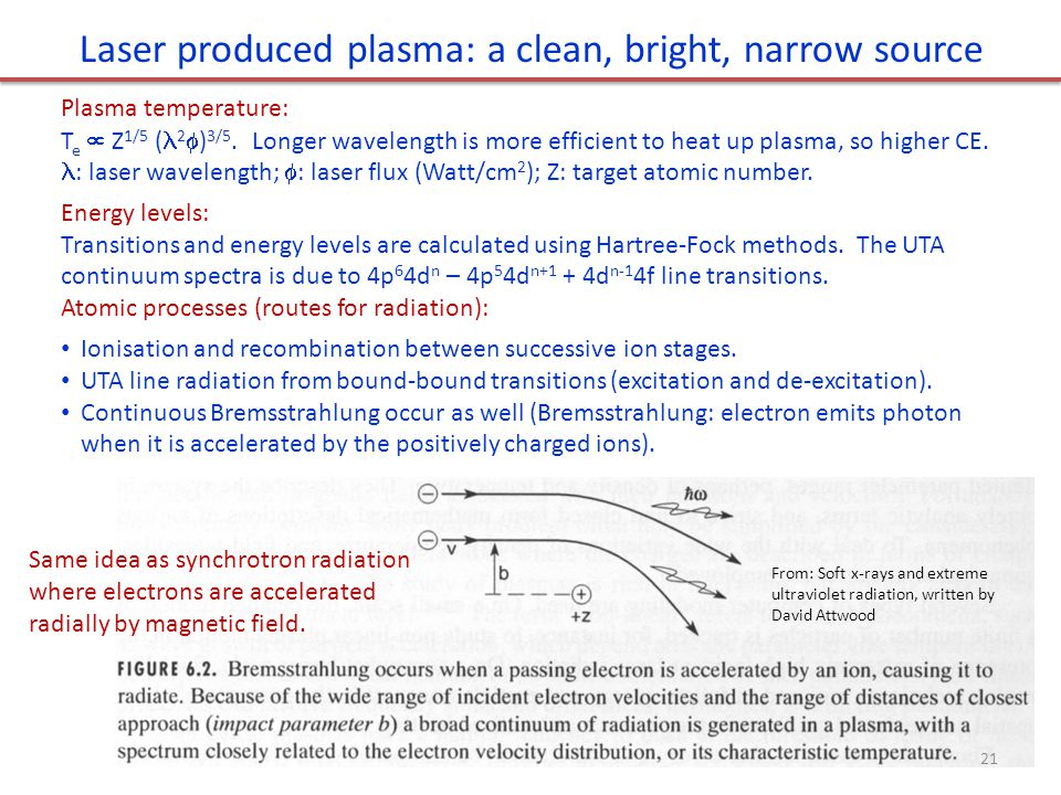 Laser produced plasma: a clean, bright, narrow source