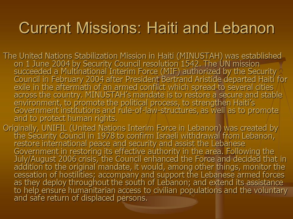 Current Missions: Haiti and Lebanon