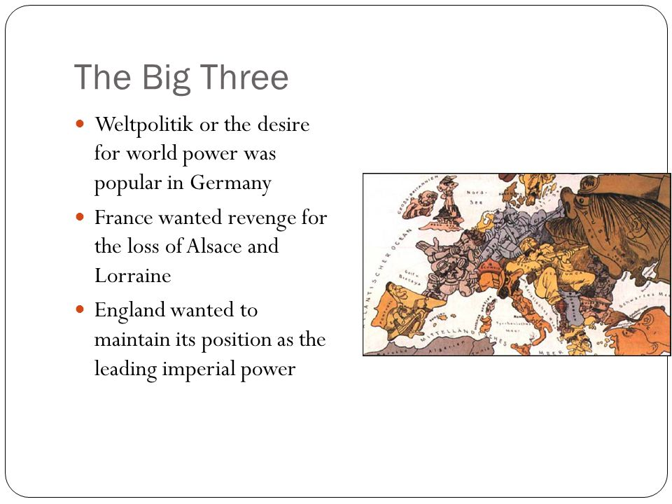 The Big Three Weltpolitik or the desire for world power was popular in Germany. France wanted revenge for the loss of Alsace and Lorraine.
