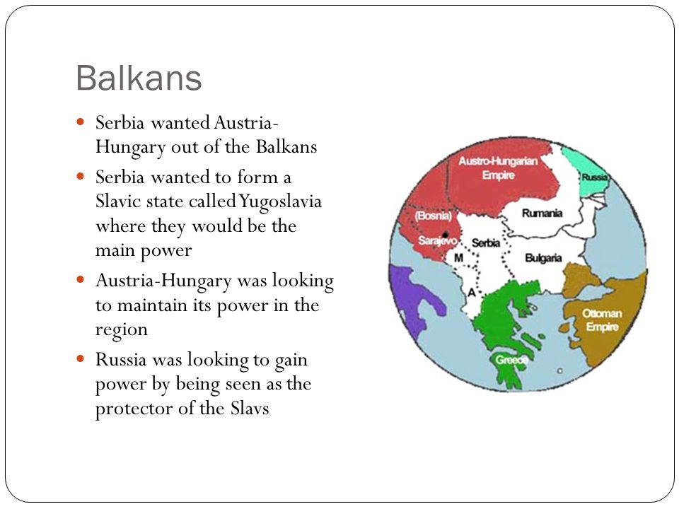 Balkans Serbia wanted Austria- Hungary out of the Balkans
