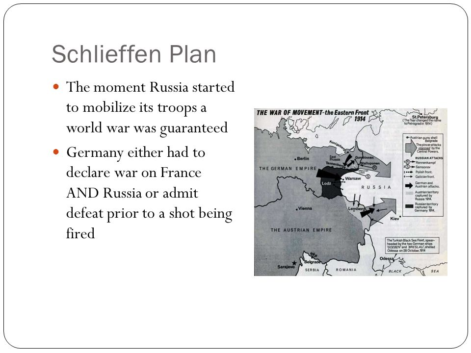 Schlieffen Plan The moment Russia started to mobilize its troops a world war was guaranteed.