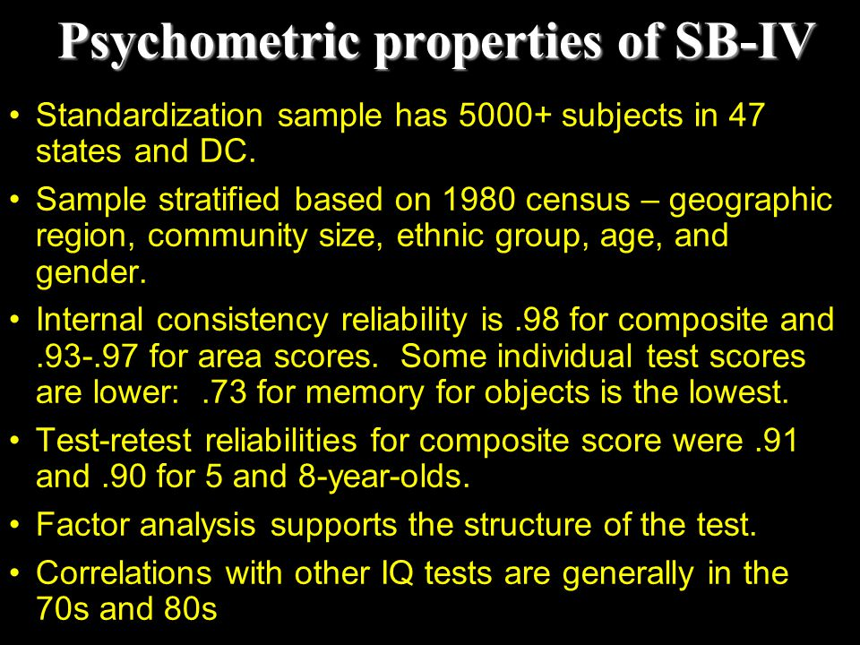 Psychometric properties of SB-IV