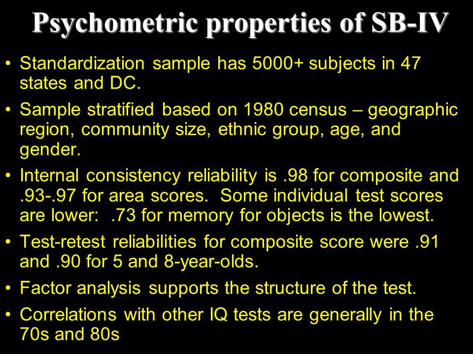 Psychometric properties of SB-IV
