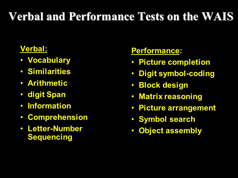 Verbal and Performance Tests on the WAIS