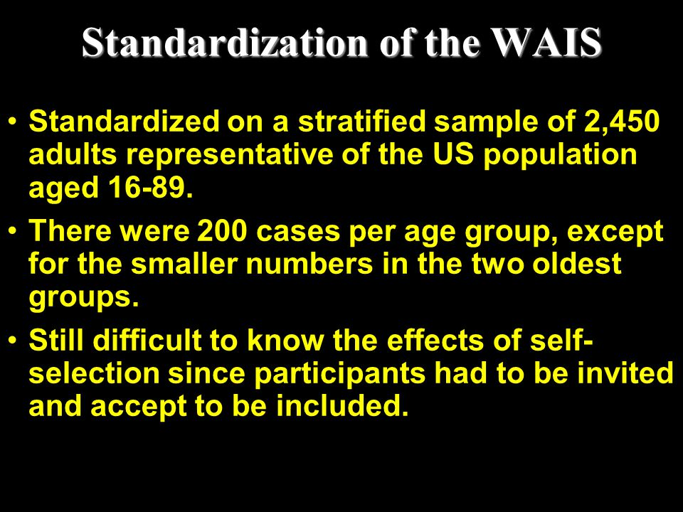 Standardization of the WAIS