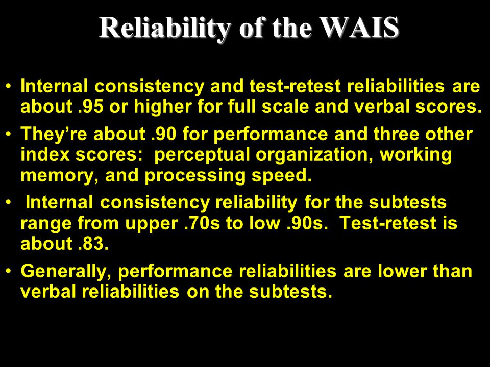 Reliability of the WAIS