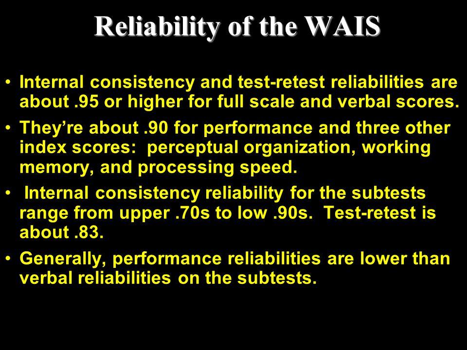 Reliability of the WAIS