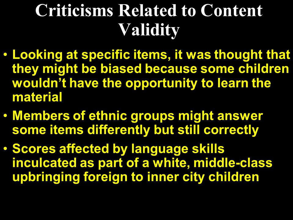 Criticisms Related to Content Validity