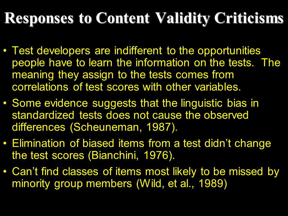 Responses to Content Validity Criticisms