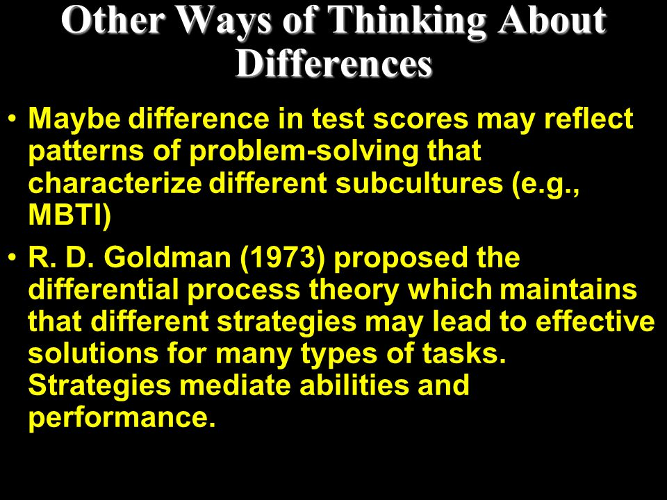 Other Ways of Thinking About Differences