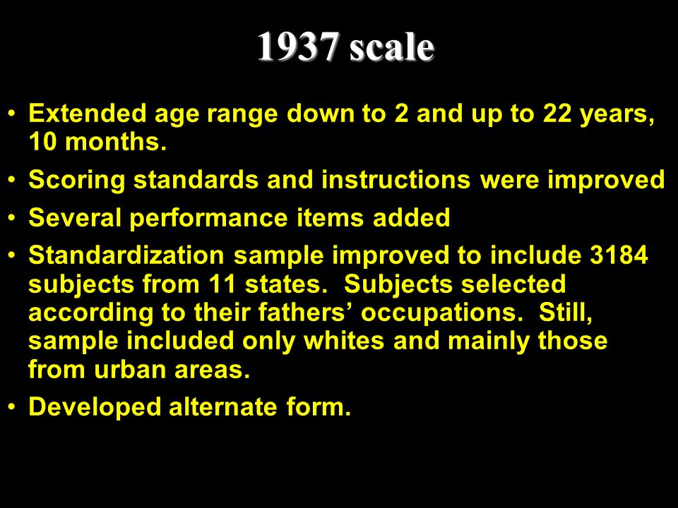1937 scale Extended age range down to 2 and up to 22 years, 10 months.