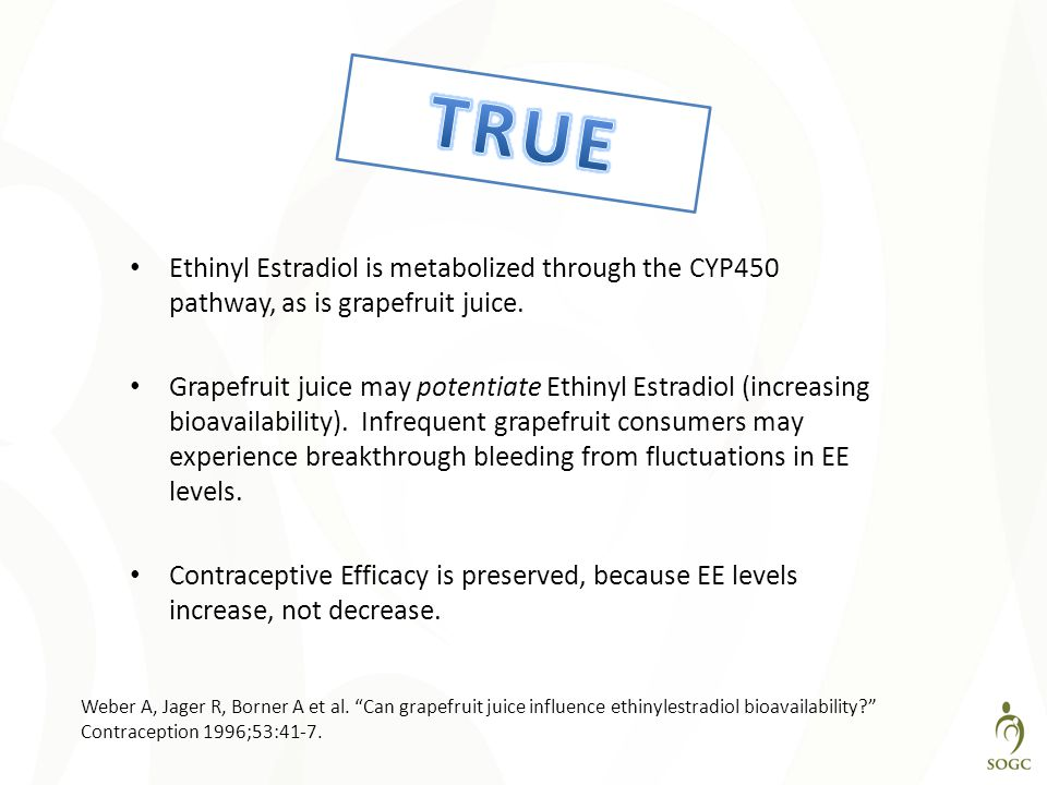 TRUE Ethinyl Estradiol is metabolized through the CYP450 pathway, as is grapefruit juice.