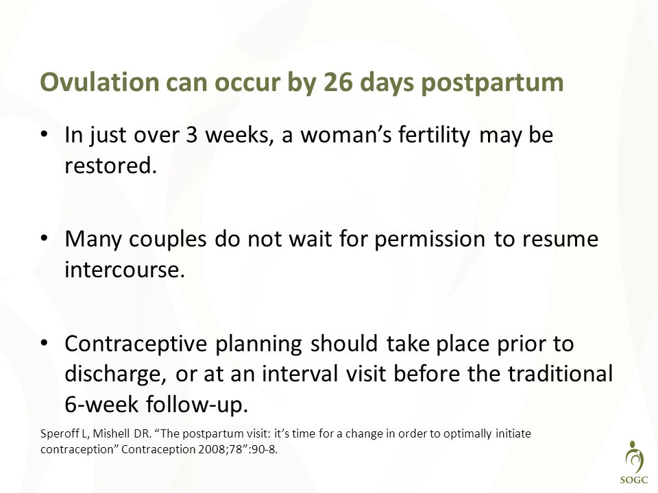 Ovulation can occur by 26 days postpartum