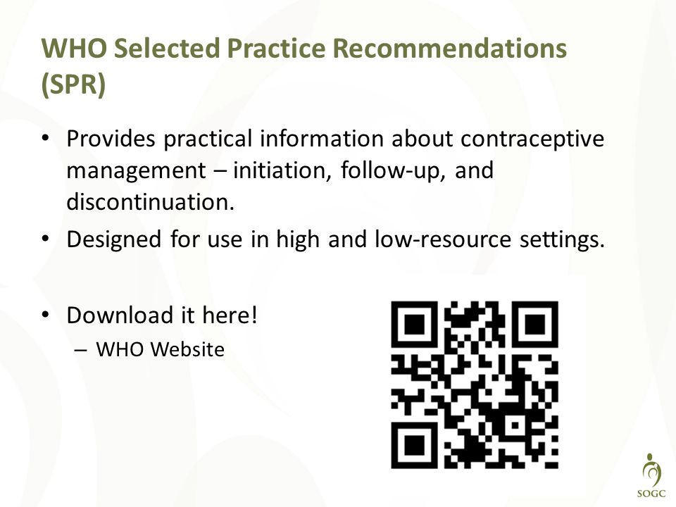 WHO Selected Practice Recommendations (SPR)