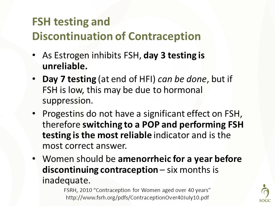 FSH testing and Discontinuation of Contraception